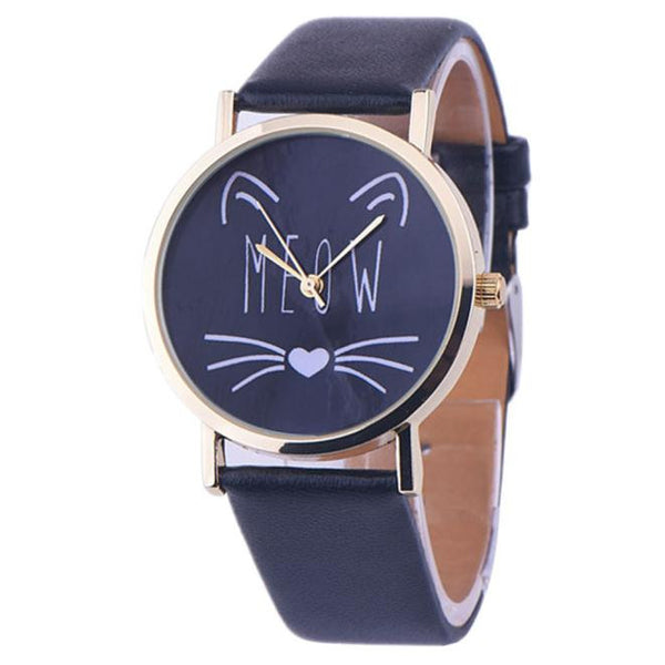"Analog Quartz ""Meow"" Wristwatch in Black"