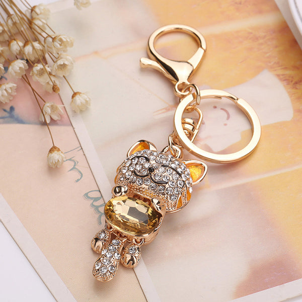 Sparkling Rhinestone Cat Keychain in Gold