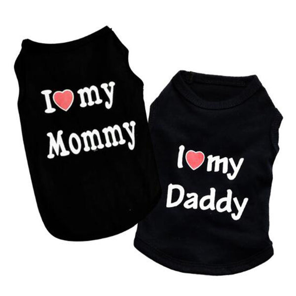 "100% Cotton ""Love Mommy"" and ""Love Daddy"" Cat Fashion  Black T-Shirt"