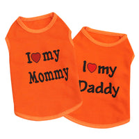 "100% Cotton ""Love Mommy"" and ""Love Daddy"" Cat Fashion Orange T-Shirt"