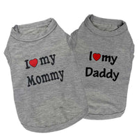 "100% Cotton ""Love Mommy"" and ""Love Daddy"" Cat Fashion Grey T-Shirt"