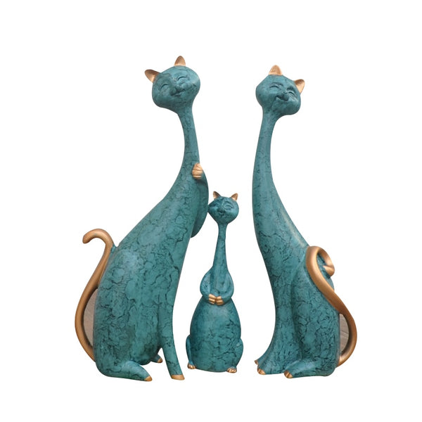 Family Of Three Ceramic Cats