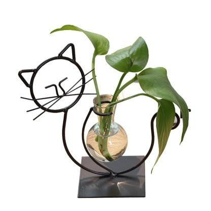 Iron Tabletop Cat-Figure Vase