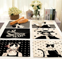 """Hepburn Cats"" Printed Placemats"