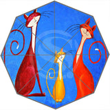 Cartoon Cat-Patterned Umbrella - Blue