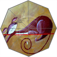 Cartoon Cat-Patterned Umbrella - Pink