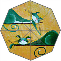 Cartoon Cat-Patterned Umbrella - White