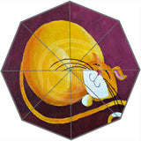 Cartoon Cat-Patterned Umbrella - Burgundy