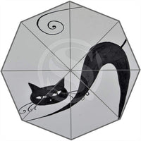 Cartoon Cat-Patterned Umbrella - Light Grey