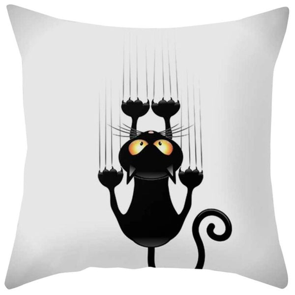 """Naughty Cat"" Decorative Throw Pillow Cover - A"