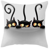 """Naughty Cat"" Decorative Throw Pillow Cover - D"