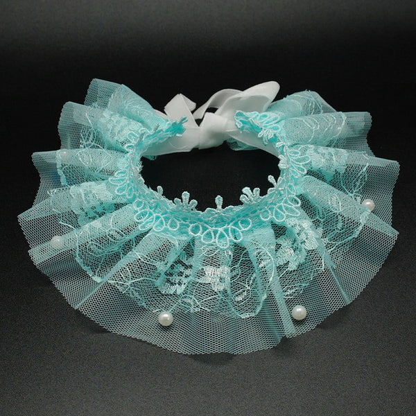 Frilly Cat Fashion Lace Collar Blue