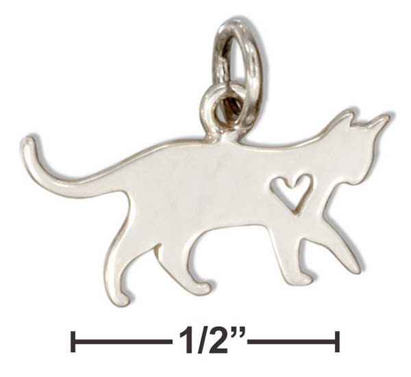 Sterling Silver Cat Charm with Cut Out Heart