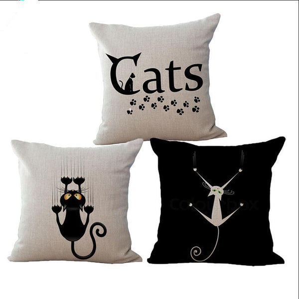 Cat Graphics 18-Inch Cotton Linen Throw Pillow Covers