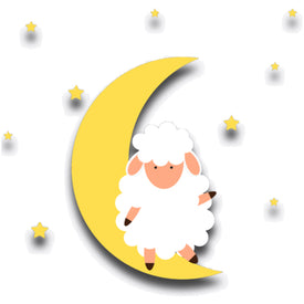 cartoon like image of fluffy sheep sitting on a moon