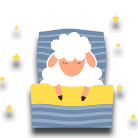 cartoon like image of fluffy sheep fast asleep in bed