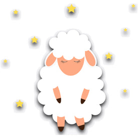 cartoon like image of fluffy sheep asleep