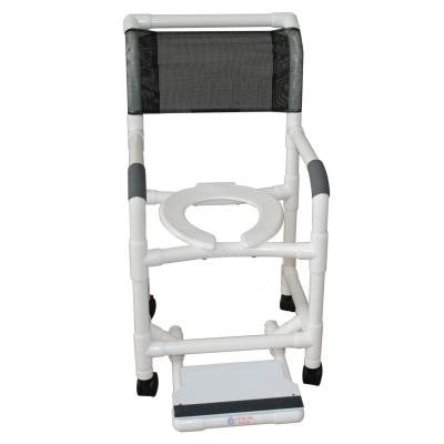 "PVC Shower Commode Chair - 18"" Internal Width w/ Footrest - EZ MedBuy"