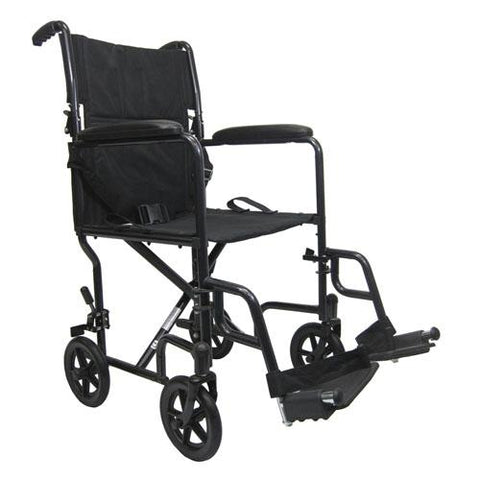 Lightweight Steel Transport Manual Wheelchair with Removable Footrest - EZ MedBuy