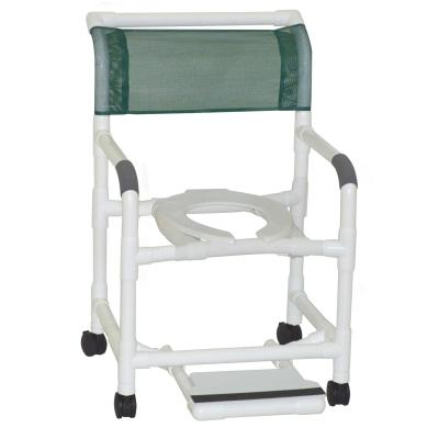 "26"" PVC Bariatric Shower Commode Chair with Sliding Footrest - EZ MedBuy"
