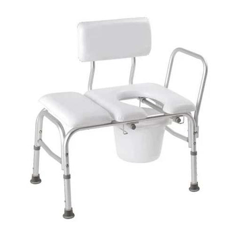Carex Deluxe Padded Transfer Bench With Opening & Bucket - EZ MedBuy
