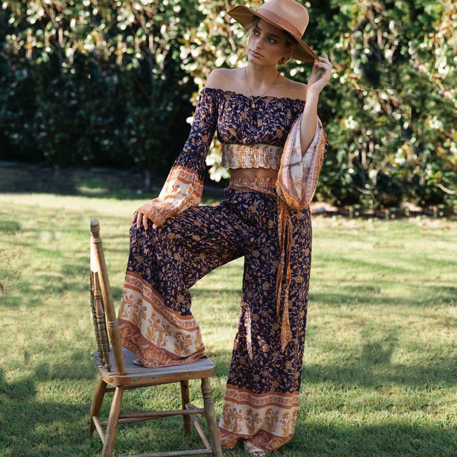 Off shoulder blouse wide leg pant