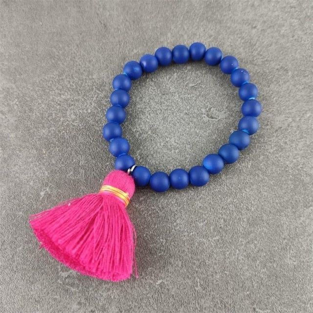 Rubber Bracelets with Colorful Tassel