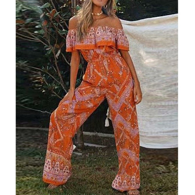 Off shoulder long jumpsuits