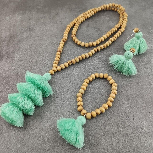 Wooden Beads Long Necklace Tassel Pendant