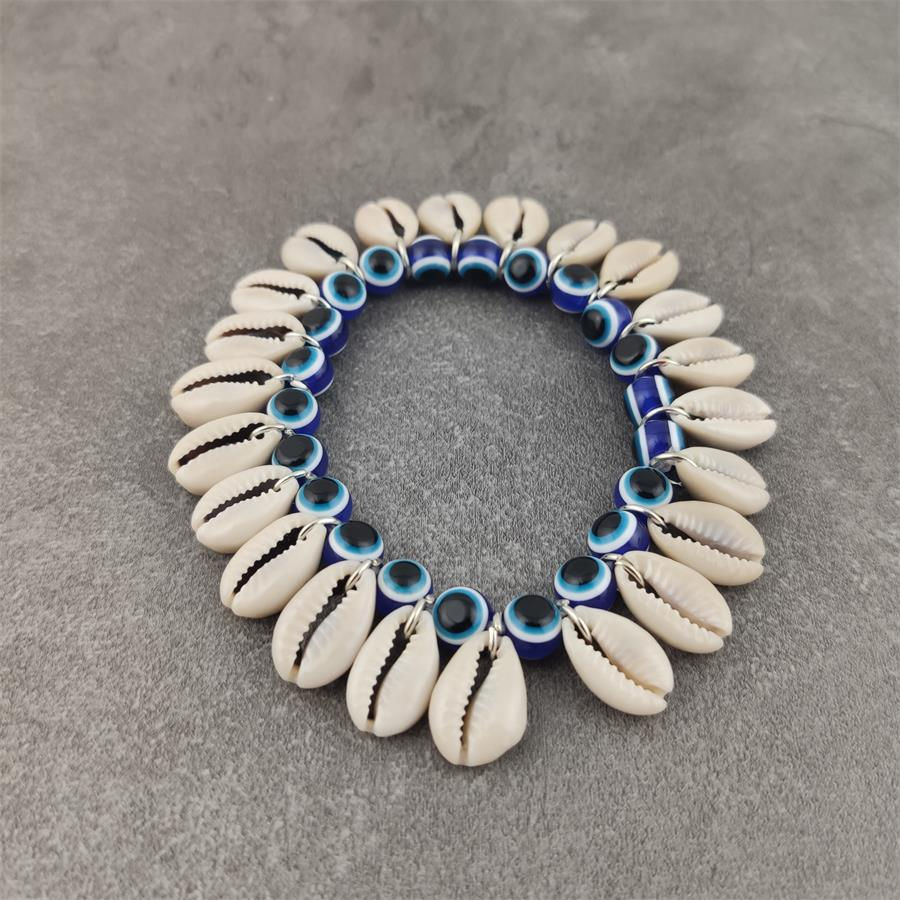 Blue Evil Eye and shell Beads Bracelet