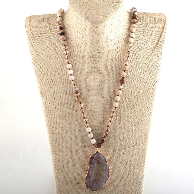 Crystal / Stone Long Knotted Irregular Druzy Stone
