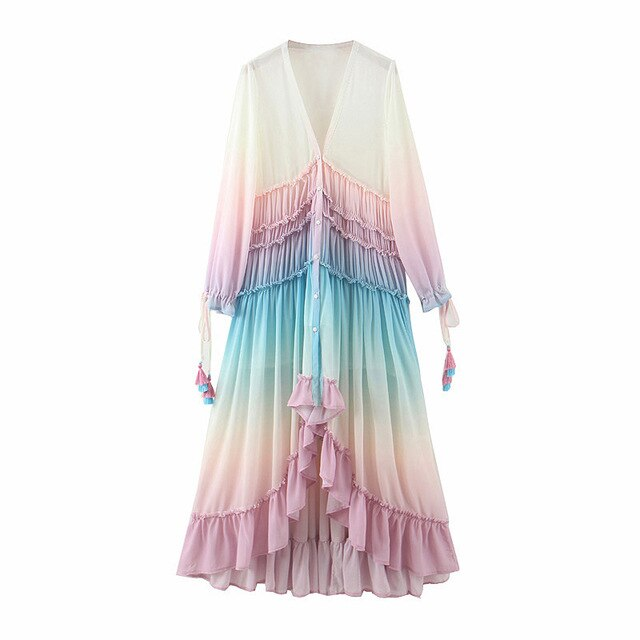 Rainbow Chiffon dress