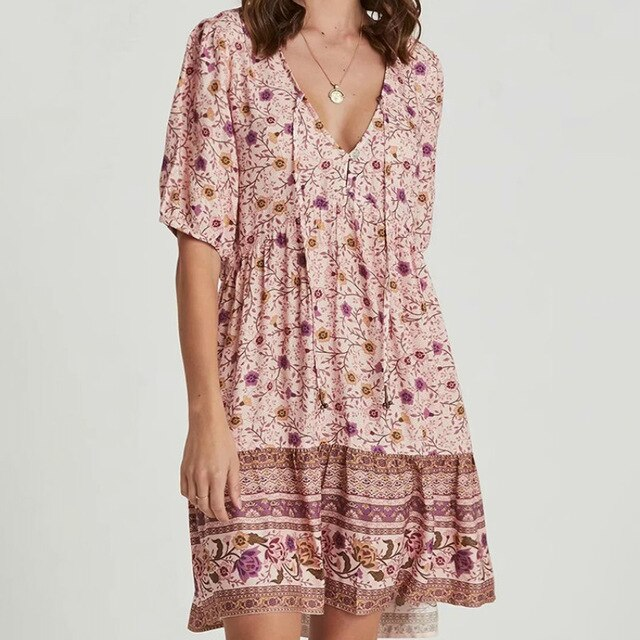 Floral robe A-line Mini Dress