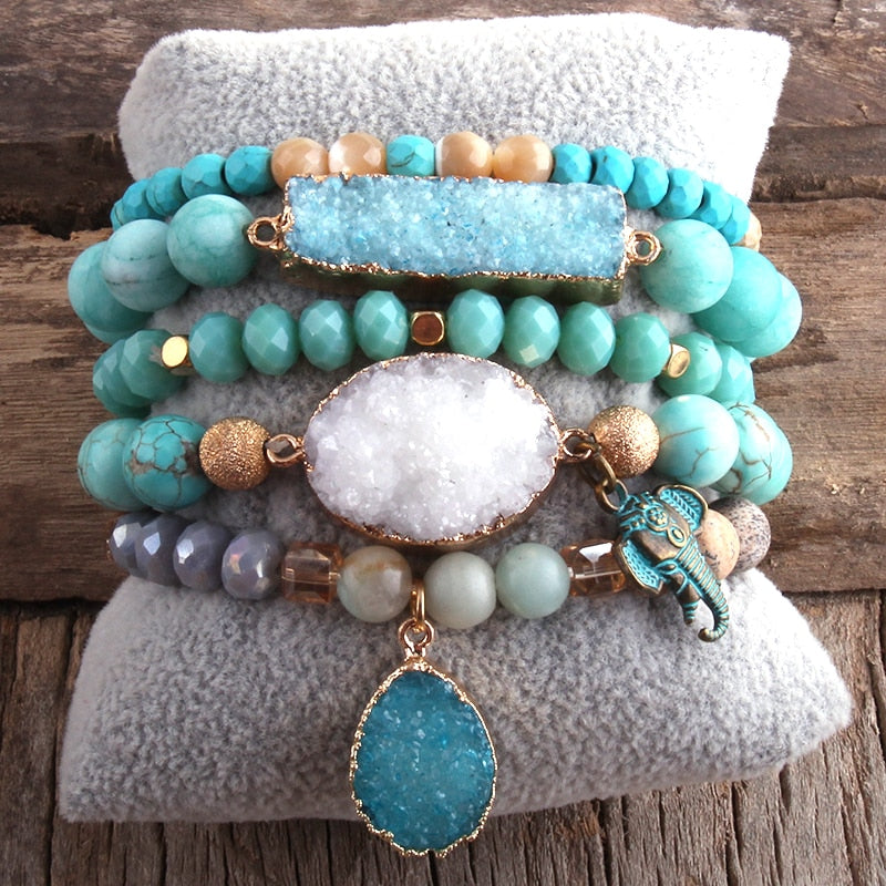 Set Natural Stone 5pc Bracelets