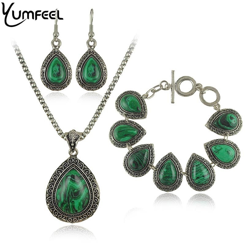 Fashion green malachite stone jewelry set