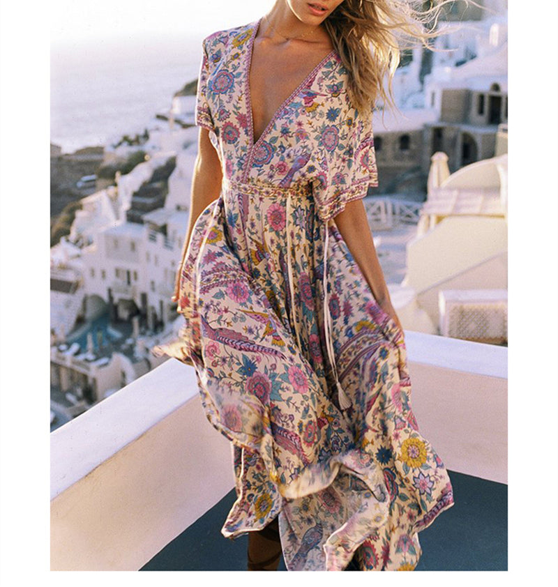 Vintage chic women  maxi dress