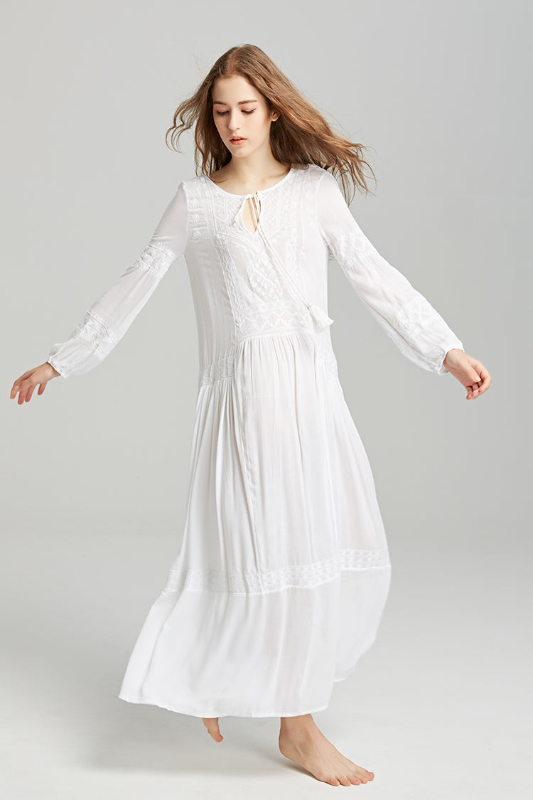 Long sleeve maxi dresses floral embroidery