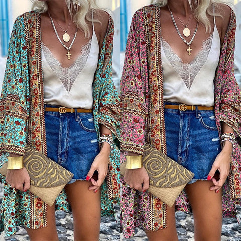 blue floral print beach blouse