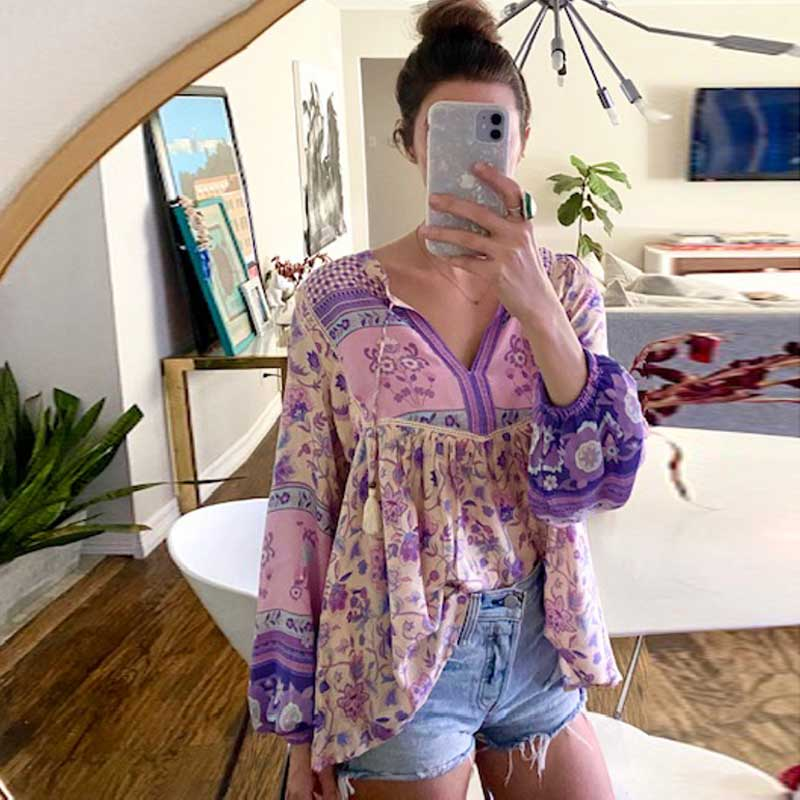 Boho blouse long sleeve V-neck