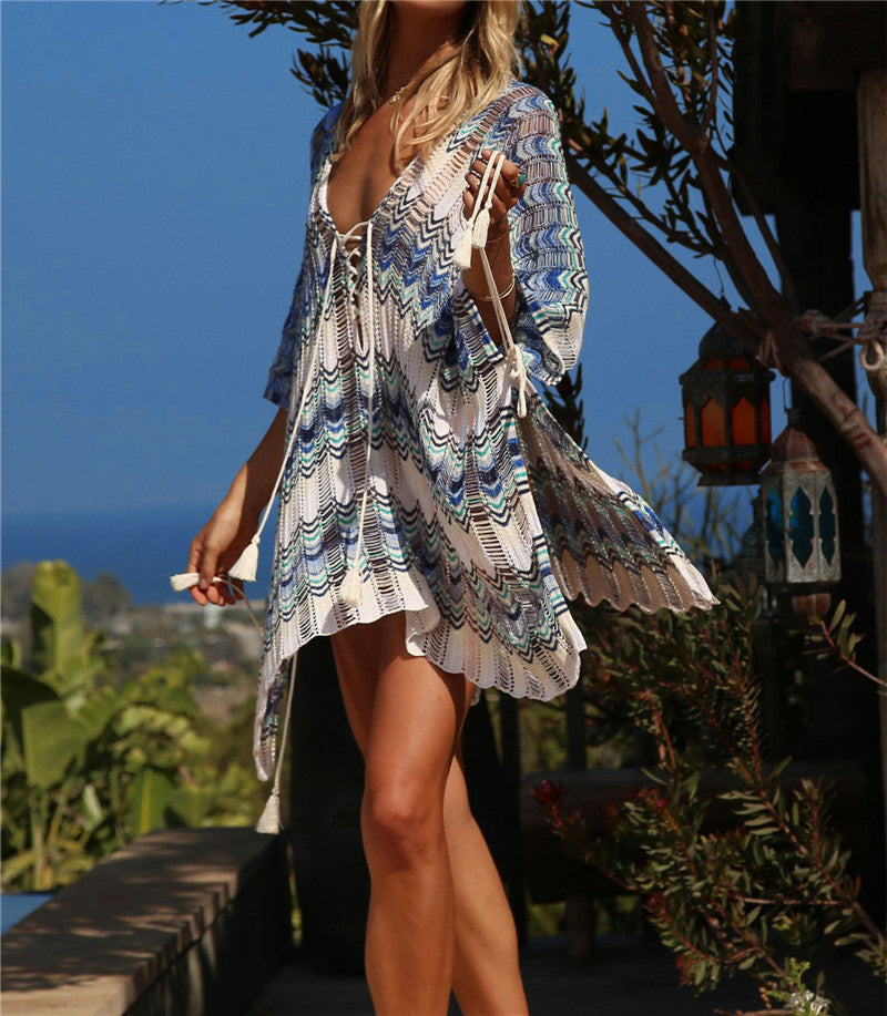 Sleeve Tassel Summer  Crochet Tunic