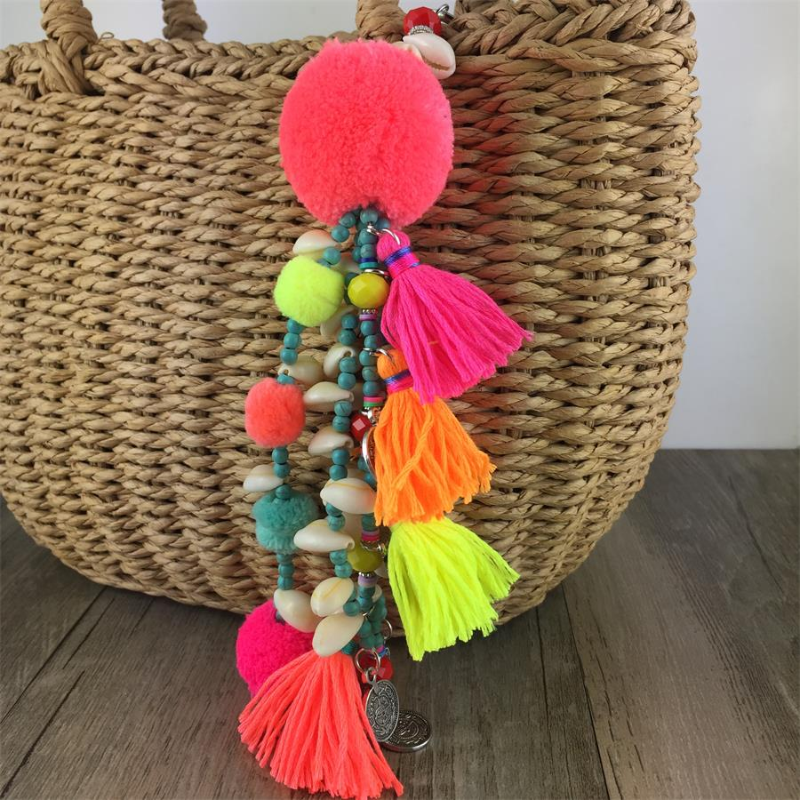 Pom Pom Keychain Colorful Tassel