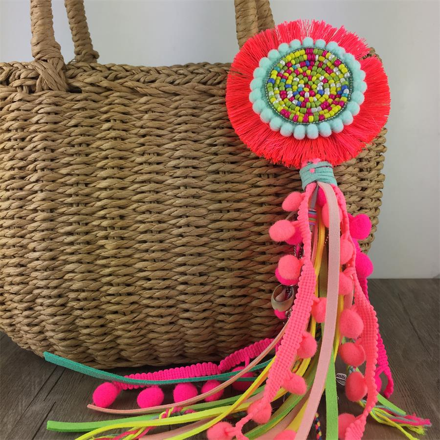 Leather Tassel With Colorful Pompons Handbag Accessorise
