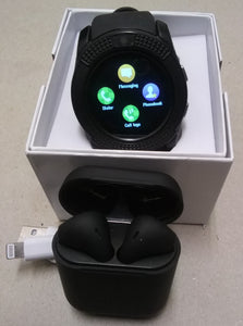 V Series Charcoal Black Smart Watch & i12tws Earbuds