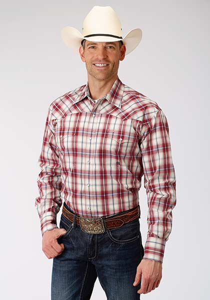 Red Plaid Men's Shirt by Roper