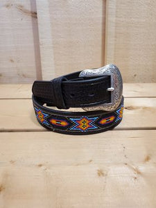 Black Beaded Men's Belt by Nocona