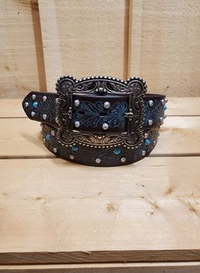 Teal and Floral Tooled Leather Women's Belt by Angel Ranch