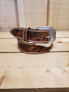 Floral Tooled Leather Men's Belt by Tony Lama