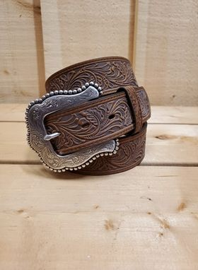 Brown Tooled Leather Belt by Tony Lama