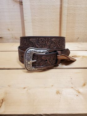 Floral Tooled Leather Men's Belt by Hooey