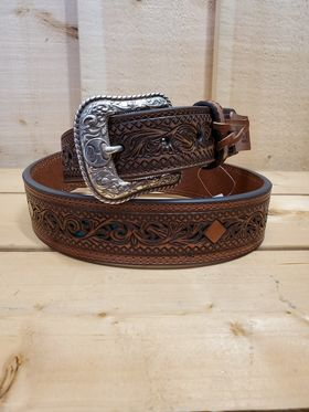 Teal Inlay Leather Men's Belt by Hooey
